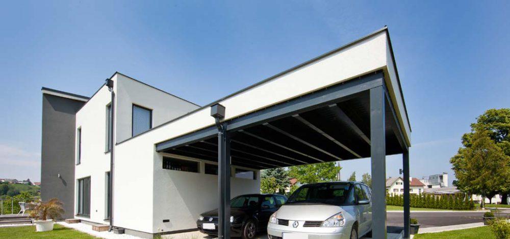 Carport in weiss Pichler Holzbau